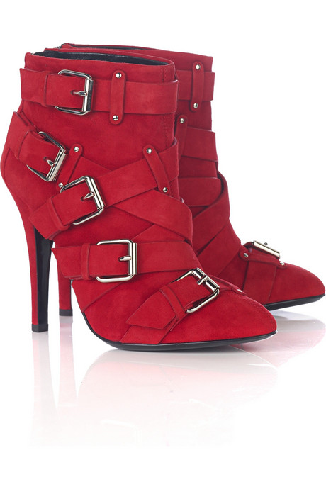 Balmain Red Suede booties
